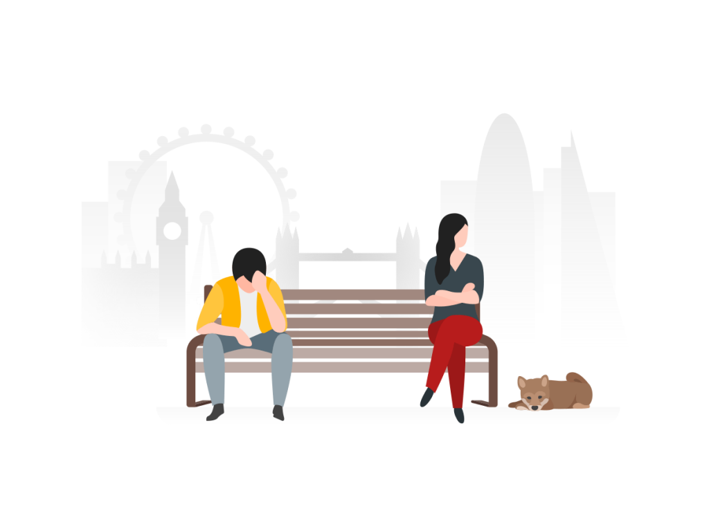 Couple on park bench looking troubled - illustration by Ouch.pics